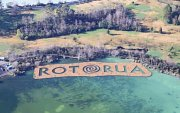 Rotorua, NZ, 1 acre BioHaven floating concentrated wetland island